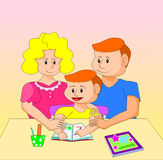 The illustrations show parental care for the children`s education. The  parental care for the children`s education Stock Images