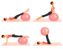 Illustrations showing pilates exercises with a ball Stock Photography