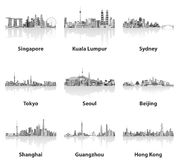 Illustrations of Singapore, Kuala Lumpur, Sydney, Tokyo, Seoul, Beijing, Shanghai, Guangzhou and Hong Kong skylines Stock Photos