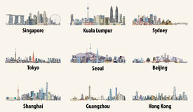 Illustrations of Singapore, Kuala Lumpur, Sydney, Tokyo, Seoul, Beijing, Shanghai, Guangzhou and Hong Kong skylines Royalty Free Stock Image