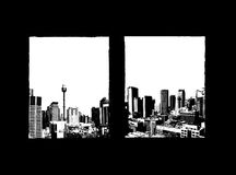 Illustrations of skyscrapers. Royalty Free Stock Photo