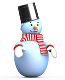 Illustrations smiling snowman with a bucket on his head Royalty Free Stock Image