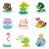 Cute water animals with scenery set royalty free illustration