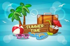 Illustrations-Sommerzeit mit Karikatur Gegenständen Stockbilder