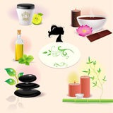 Illustrations of spa elements Stock Photography