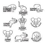 Illustrations stylisées des éléphants Calibres pour la conception de logo illustration stock