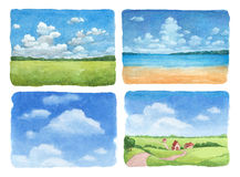 Illustrations of a summer landscape. Watercolor illustrations set of a summer landscape Stock Image