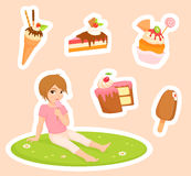 illustrations of sweets and a small girl Stock Image