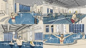Illustrations of swimming pool and spa zone interiors. Illustrations of swimming pool and spa zone vector illustration