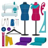 Illustrations for tailor shop. Sewing tools. For hand craft, tailoring and handmade vector Royalty Free Stock Photography