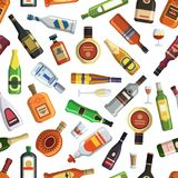 Illustrations for textile production. Seamless pattern with colored alcoholic bottles and glasses royalty free illustration
