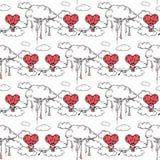 illustrations tirées par la main Carte de voeux pour le jour de Valentine Festin de St Valentine Configuration sans joint Photographie stock libre de droits