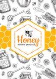 Illustrations tirées par la main d'abeille de miel de vecteur Bannière de miel, affiche Photo stock