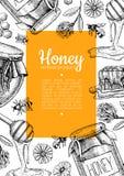 Illustrations tirées par la main d'abeille de miel de vecteur Bannière de miel, affiche Photo libre de droits