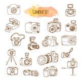 Illustrations tirées par la main d'appareils-photo de photo Conception de caméra vidéo de vecteur Image libre de droits