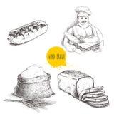 Illustrations tirées par la main de boulangerie d'ensemble Baker avec du pain frais, le pain coupé en tranches de pain, l'eclair  Photo stock