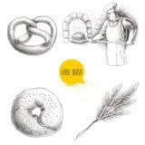 Illustrations tirées par la main de boulangerie d'ensemble Baker faisant le pain frais dans le four en pierre, le bagel de sésame Image libre de droits