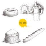 Illustrations tirées par la main de boulangerie d'ensemble Baker faisant le pain frais en four en pierre, le bagel de sésame, la  Illustration Libre de Droits
