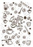 Illustrations tirées par la main de café Photographie stock