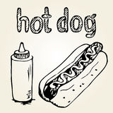 Illustrations tirées par la main de hot-dog Photographie stock libre de droits