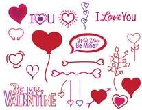 Illustrations tirées par la main de thème de coeur et d'amour de griffonnage illustration stock