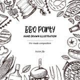 Illustrations tirées par la main de vecteur Collection de BBQ Conception de barbecue illustration stock