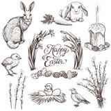 Illustrations tirées par la main de vecteur de vintage de Pâques réglées illustration stock