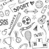 Illustrations tirées par la main de vecteur Modèle sans couture de sport et de forme physique Image libre de droits