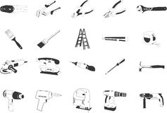 Illustrations of Tools. A set of illustrations of tools in black and white Royalty Free Stock Photography