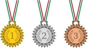 Medals set with tricolor ribbon on white background stock image