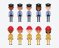 Illustrations Of US Police And Fire Services. Illustrations Of Occupations In USA Police And Fire Services Stock Photos