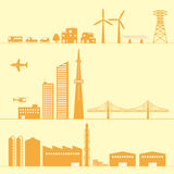 Illustrations of various buildings Stock Photography