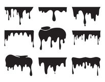 Illustrations of various dripping black paint. Vector pictures of splashes. Ink drip and blob, drop splash, splatter stain vector illustration