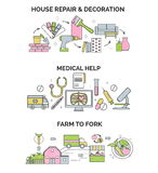 Illustrations for various social, nature and home related activities Stock Image