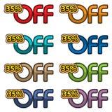 Illustrations-Vektor von 35% weg Rabattfahnen entwerfen Schablone, APP-Ikonen, Vektorillustration stock abbildung