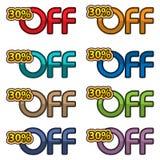 Illustrations-Vektor von 30% weg Rabattfahnen entwerfen Schablone, APP-Ikonen, Vektorillustration stock abbildung