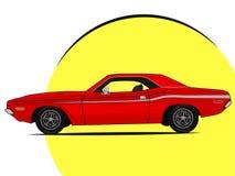 Illustrations-Vektorikone des Muskelautos helle lizenzfreies stockfoto