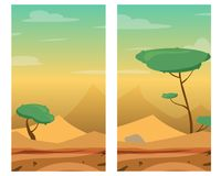 Illustrations verticales avec le désert, les dunes, les arbres et les pierres Image libre de droits