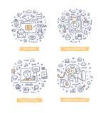 Illustrations visuelles de griffonnage de vente illustration de vecteur