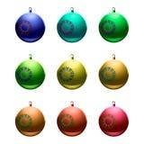 Illustrations-Weihnachtsbälle Schneeflocke Lizenzfreie Stockfotos