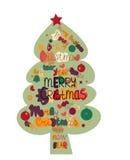 Illustrations-Weihnachtsbaum gemacht mit den Wörtern und den Wörtern Stockbild