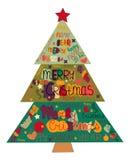 Illustrations-Weihnachtsbaum gemacht mit den Wörtern und den Wörtern ha Stockfoto