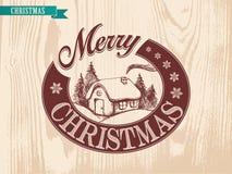 Illustrations-Weihnachtshaus durchgeführt durch Weinleseart Stockfotos