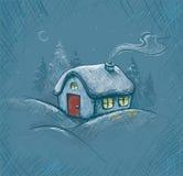 Illustrations-Weihnachtshaus durchgeführt durch Weinleseart Lizenzfreies Stockfoto