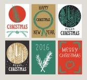 Illustrations-Weihnachtskarten des Vektors gesetzte Lizenzfreie Stockbilder