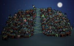 Illustrations-Weihnachtslichter Stockfotografie