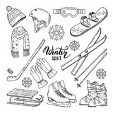 Illustrations of winter sport. Scarf, gloves, ski and others. Winter sport ski and snowboard, helmet and skates vector royalty free illustration