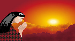 Illustrations of woman praying, at sunset Stock Photo