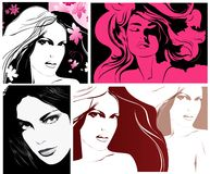 Illustrations with woman's faces Royalty Free Stock Photo