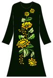 Women`s clothing largest flower that bend. Illustrations of women`s clothing, embroidered designs of large flower motifs that bend, composition of yellow and Stock Photos